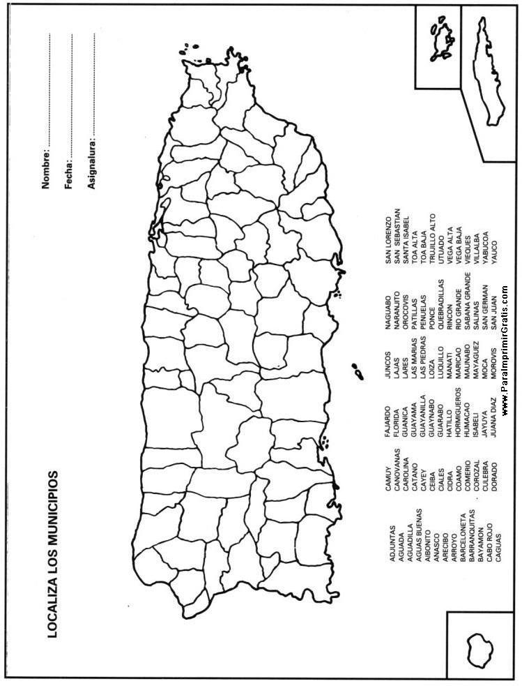 Mapa de puerto rico clipart black and white library Mapa Municipios de Puerto Rico | School | Puerto rico map, Map ... black and white library