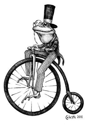 Mar riding on a big toad clipart