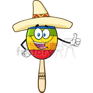Maracas and sombrero clipart clip art royalty free download happy colorful mexican maracas cartoon mascot character with sombrero hat  giving a thumbs up vector illustration isolated on white background  clipart. ... clip art royalty free download