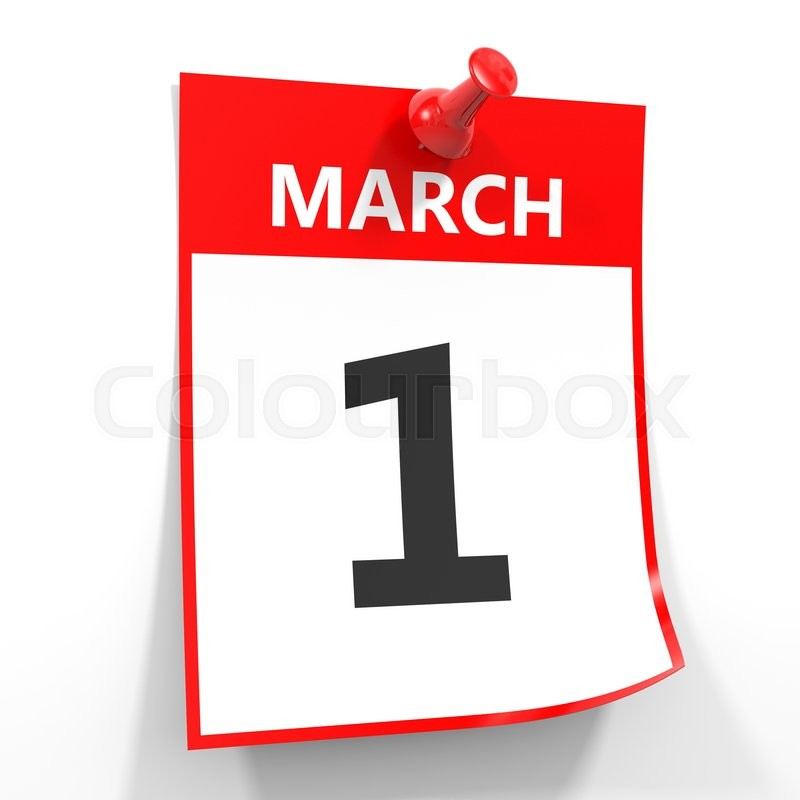 March 1 calendar page clipart jpg royalty free 1 march calendar sheet with red pin on white background ... jpg royalty free