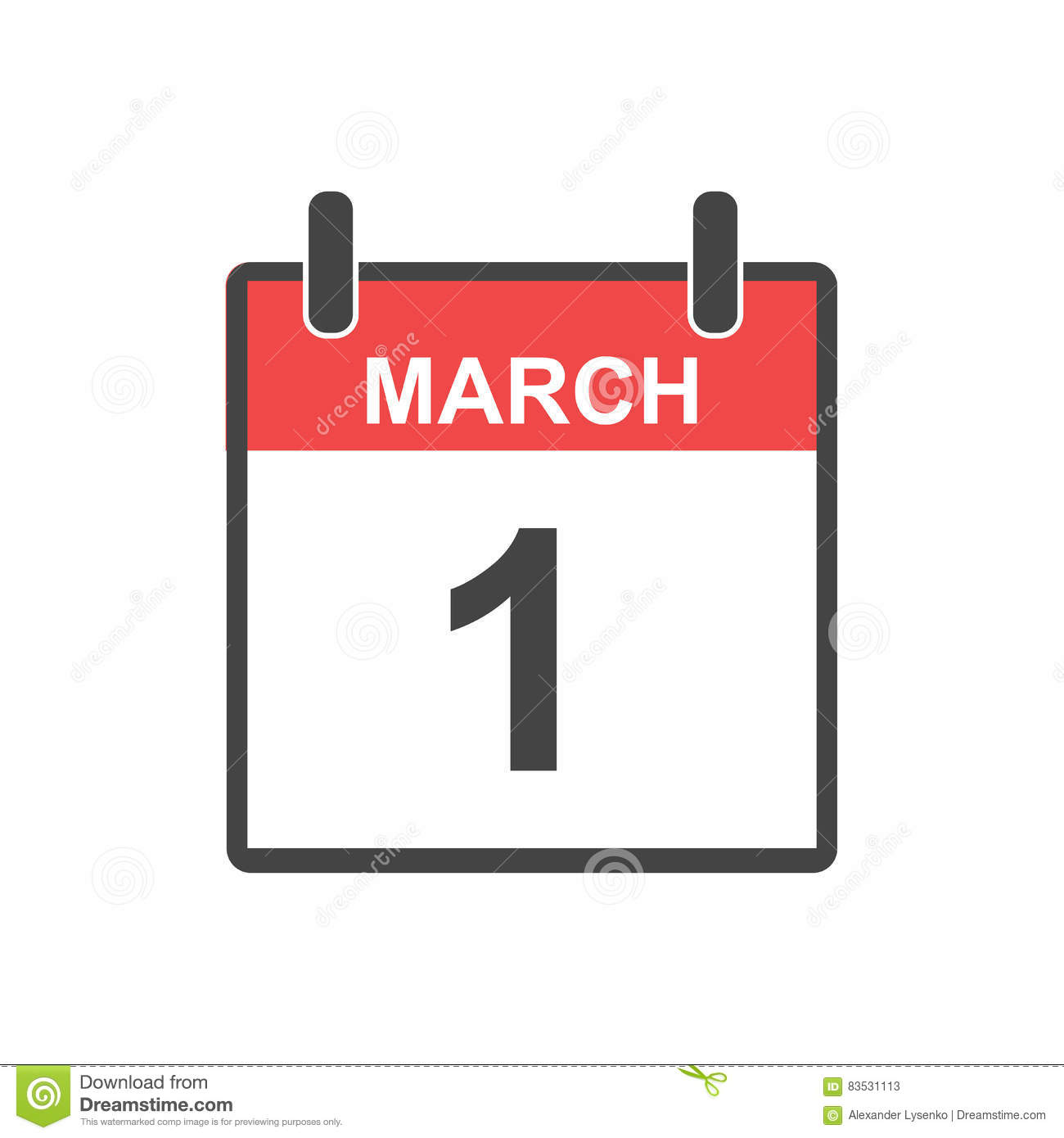 March 1 calendar page clipart graphic March 1 Calendar Icon. Stock Vector - Image: 83531113 graphic