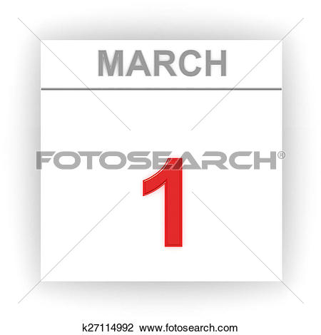 March 1 calendar page clipart jpg black and white Clip Art of March 1. Day on the calendar. k27114992 - Search ... jpg black and white