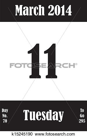March 1 calendar page clipart clipart black and white download Clipart of 11 March 2014 Calendar Page k15245190 - Search Clip Art ... clipart black and white download