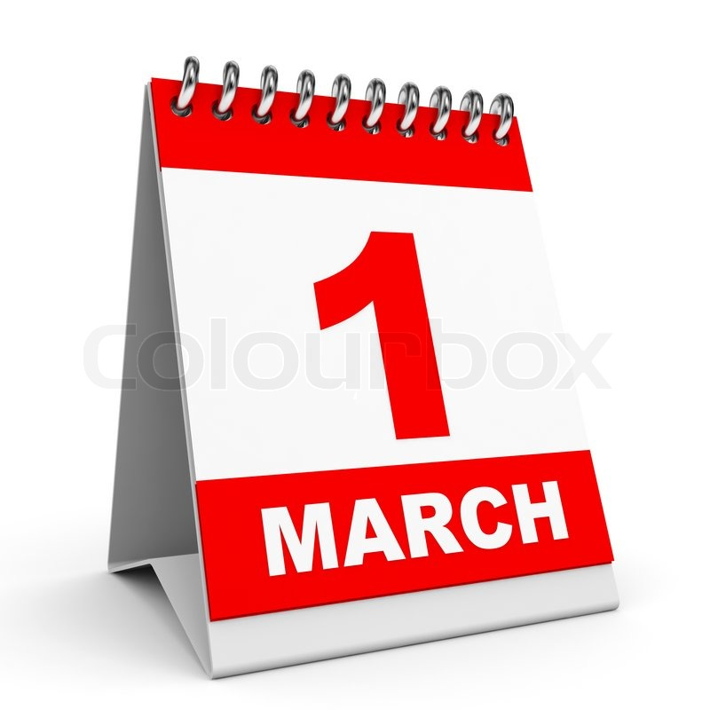 March 1 calendar page clipart png transparent library Calendar on white background. 1 March. 3D illustration. | Stock ... png transparent library