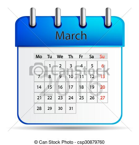 March 2016 calendar clipart picture library library Clip Art Vector of March 2016 calendar. - March 2016 calendar on a ... picture library library
