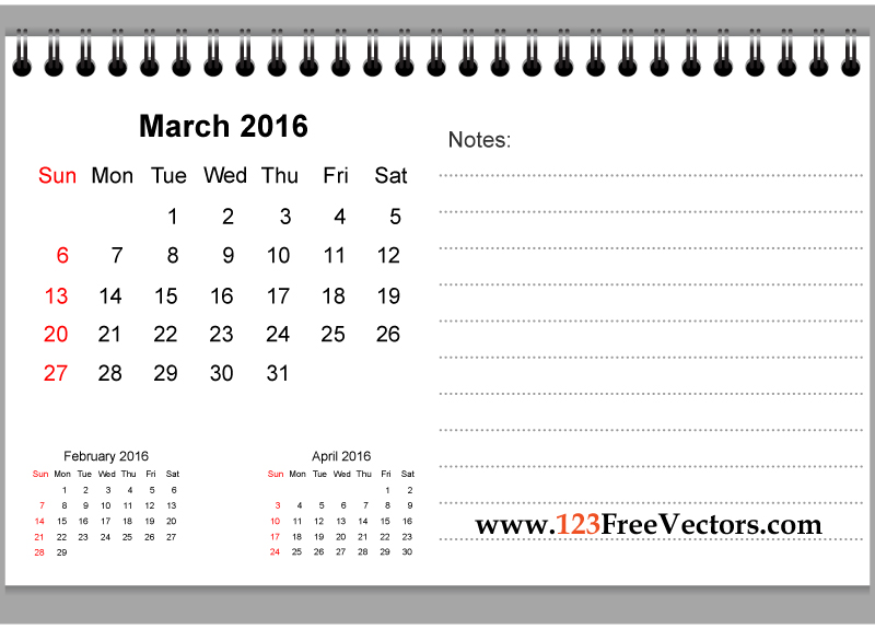 March 2016 calendar clipart banner black and white library March 2016 Printable Calendar with Notes by 123freevectors on ... banner black and white library