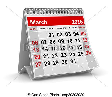 March 2016 calendar clipart graphic stock Clip Art of Calendar March 2016. - Calendar March 2016 on white ... graphic stock