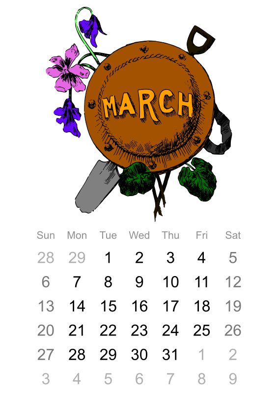 March 2016 calendar clipart svg freeuse library Clipart - 2016 March calendar svg freeuse library