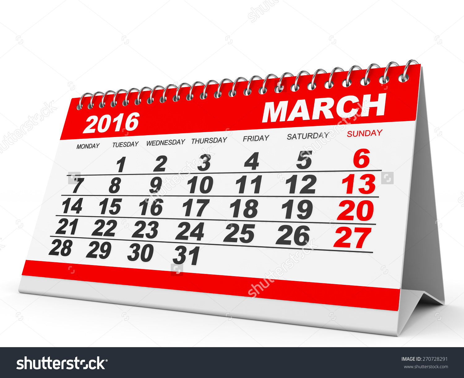 March 2016 calendar clipart picture free stock Calendar March 2016 On White Background. 3d Illustration ... picture free stock