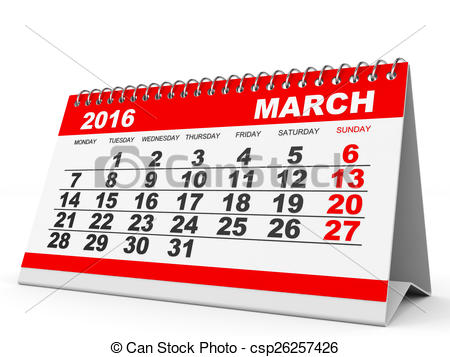 March calendar 2016 clipart clipart freeuse download Clip Art of Calendar March 2016. - Calendar March 2016 on white ... clipart freeuse download