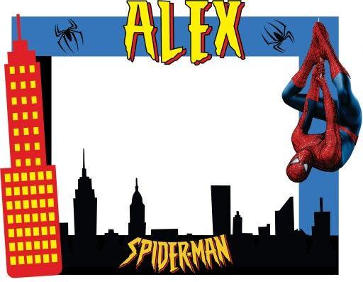 Marcos para fotos clipart cumplea os banner royalty free stock Marco para fotos Spiderman | Superheroes party in 2019 ... banner royalty free stock
