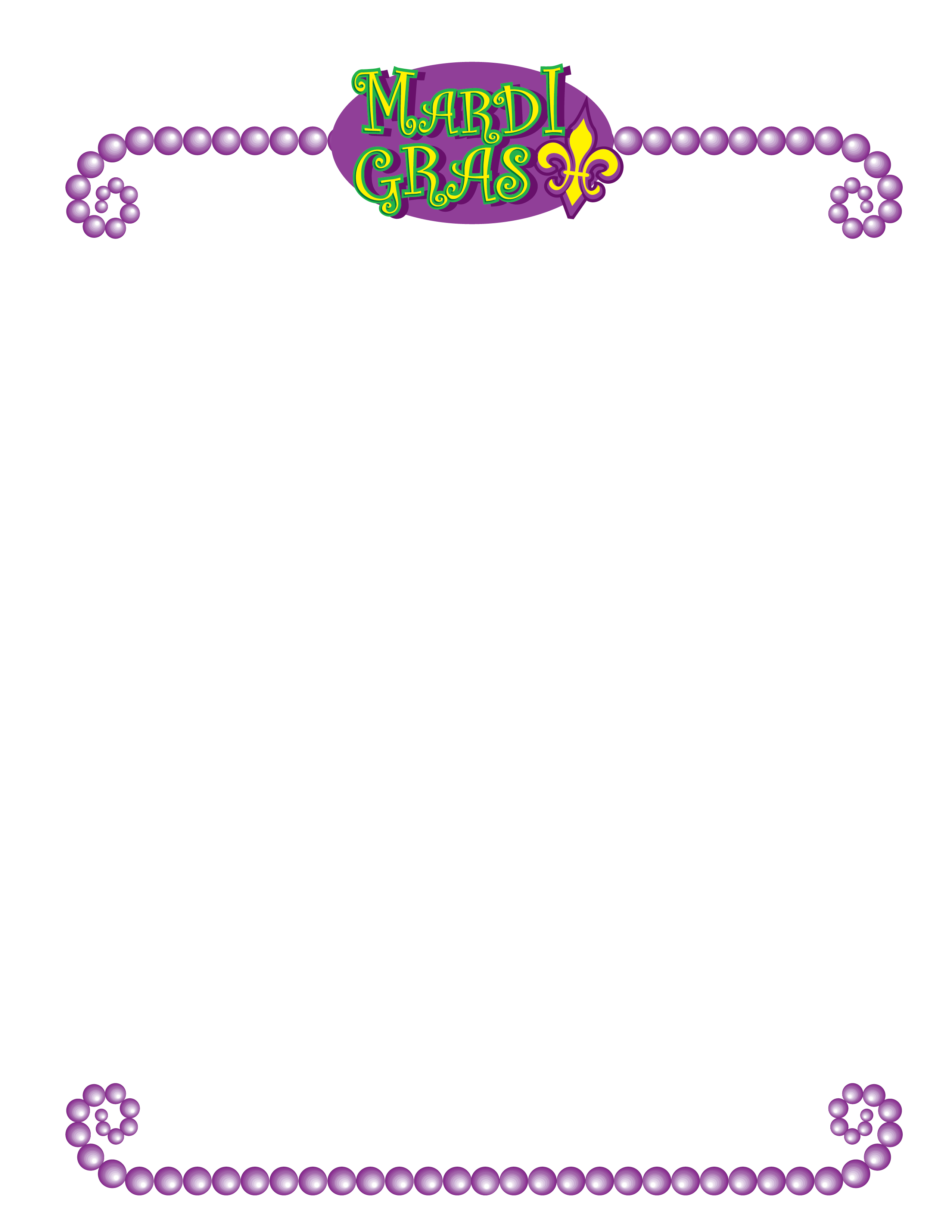 Mardi gras border clipart clipart black and white download Mardi Gras Stationery Clip Art - New Orleans Free Vector ... clipart black and white download