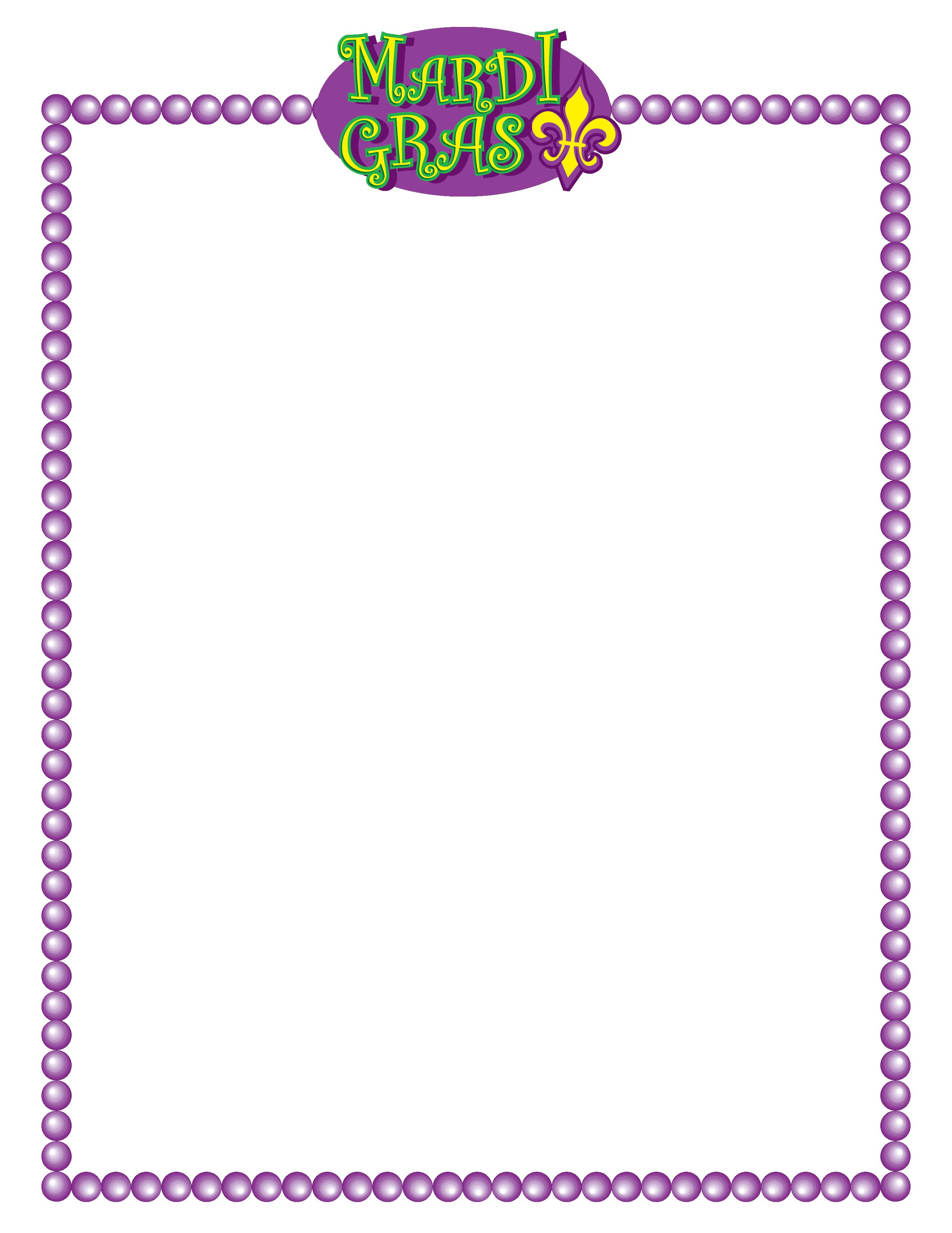 Mardi gras border clipart graphic freeuse download Mardi Gras Stationery Clip Art - New Orleans Free Vector ... graphic freeuse download