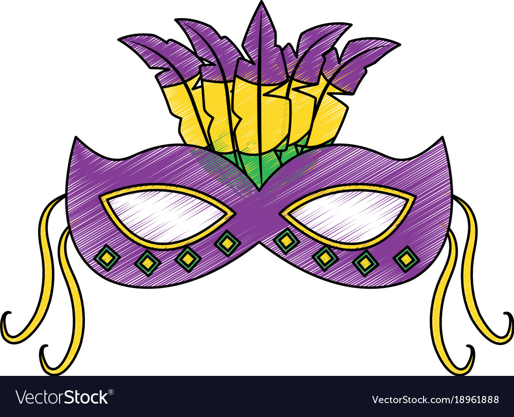 Mardi gras feathers clipart jpg freeuse library Ornate mardi gras carnival mask with feathers vector image on VectorStock jpg freeuse library