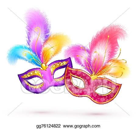 Mardi gras feathers clipart banner royalty free download Vector Art - Pair of bright carnival masks with colorful ... banner royalty free download