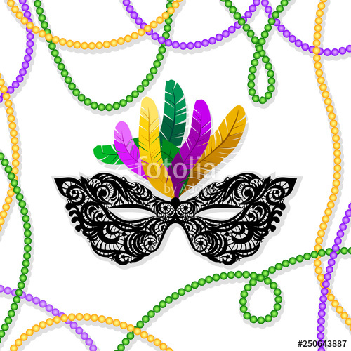 Mardi gras framesfree clipart colors freeuse stock Mardi Gras mask with feathers on a colored bead frame ... freeuse stock