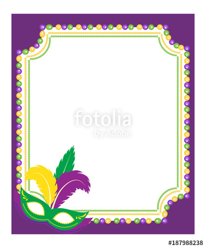 Mardi gras framesfree clipart colors banner transparent library Mardi Gras beads colored frame with a mask, isolated on ... banner transparent library