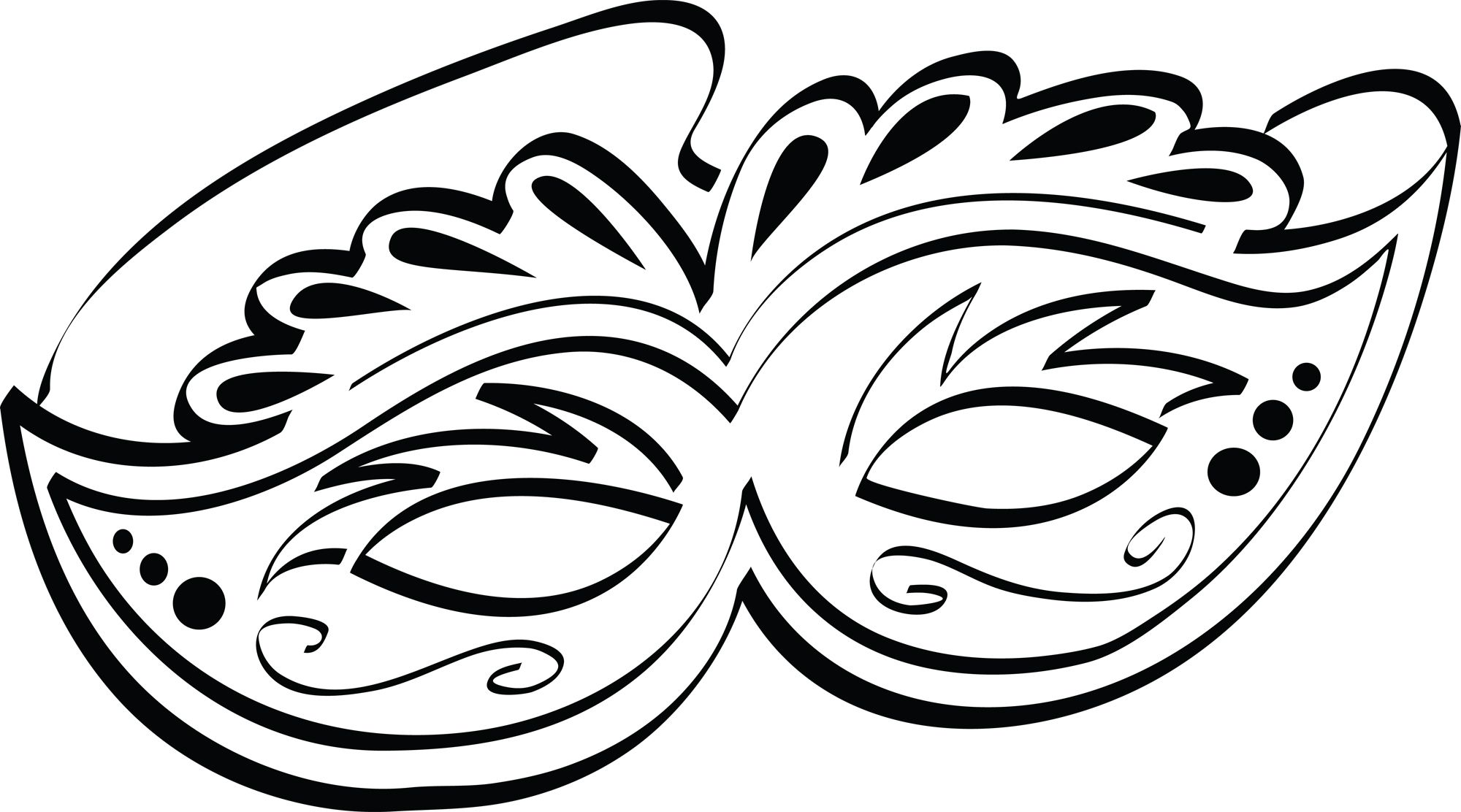 Mardi gras mask black and white clipart
