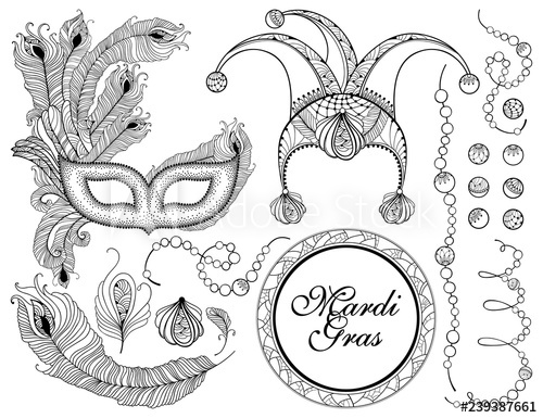 Mardi gras mask clipart black and white clown banner transparent stock Vector set with outline clown or harlequin cap, black ... banner transparent stock