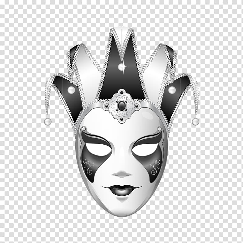 Mardi gras mask clipart black and white clown freeuse library White and gray mask , Joker Mask Black and white Jester ... freeuse library