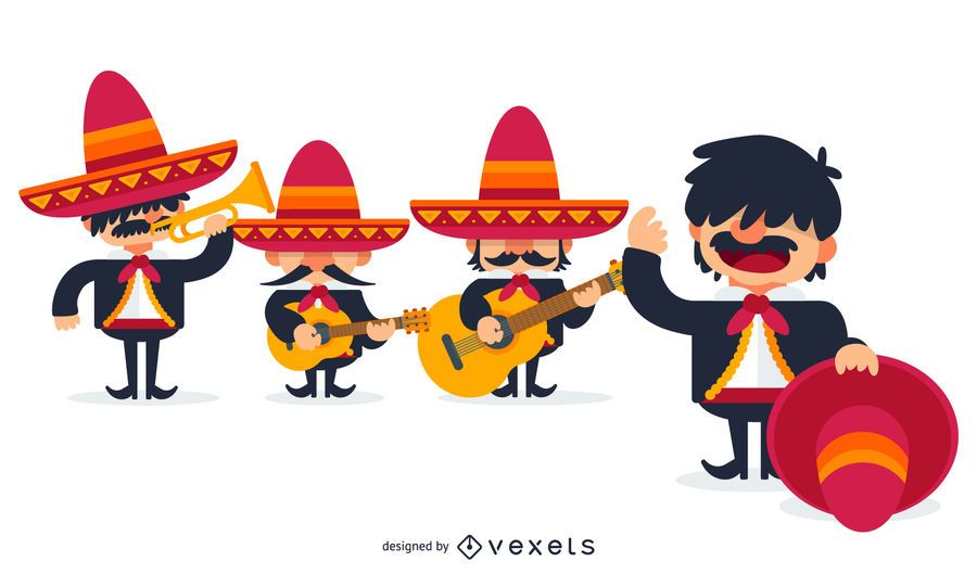 Mariachi pictures clipart banner freeuse stock Mexican mariachis illustration | Cartoons & Characters in ... banner freeuse stock