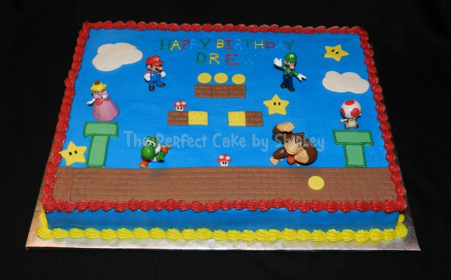 Mario birthday 6 cake clipart on white background picture black and white Super Mario Sheet Cake Simple sheet cake using toy figures ... picture black and white