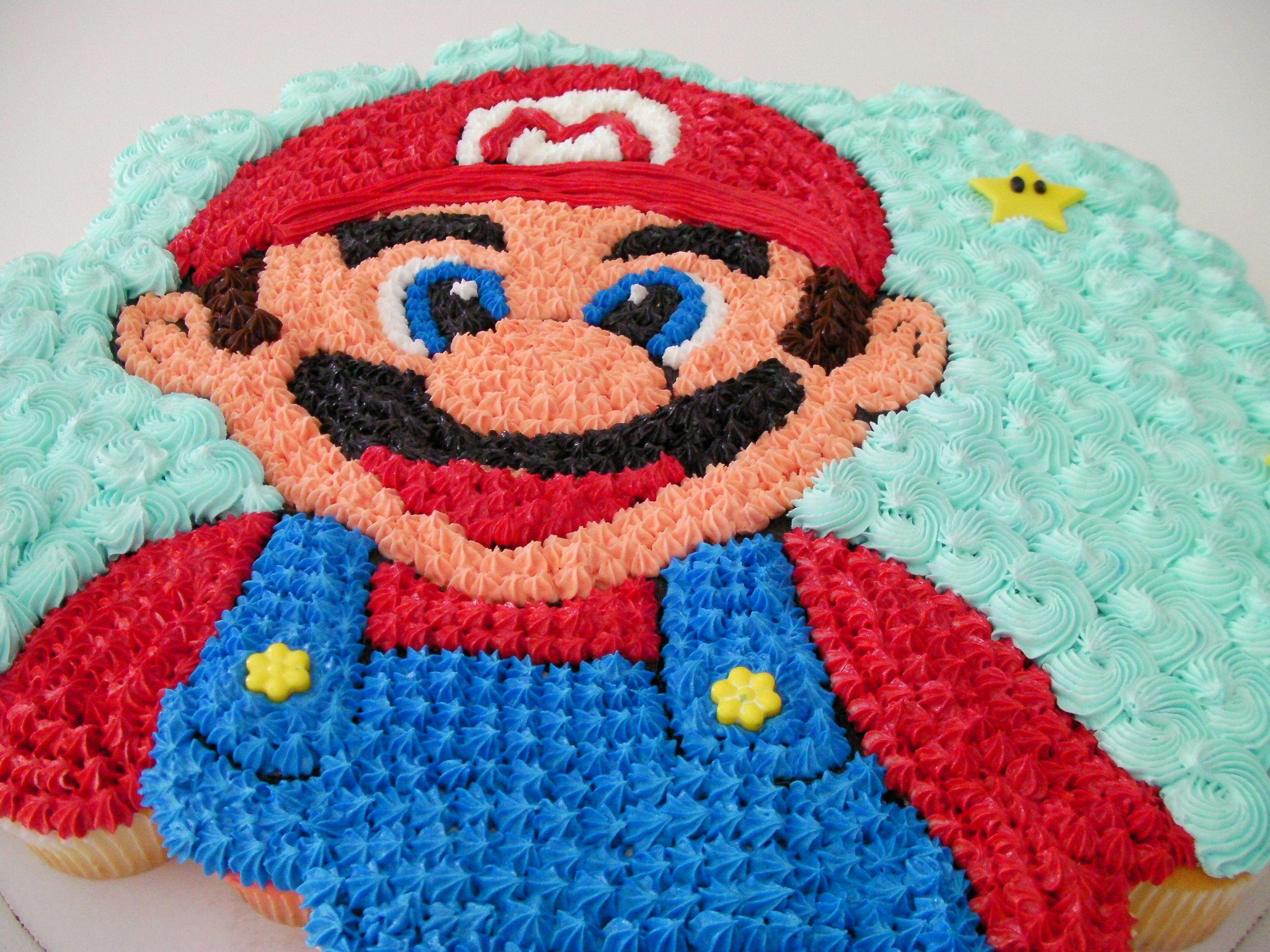 Mario birthday 6 cake clipart on white background clip art black and white download Mario Bro. cupcake cake   Roni cupcake cakes   Mario cake ... clip art black and white download
