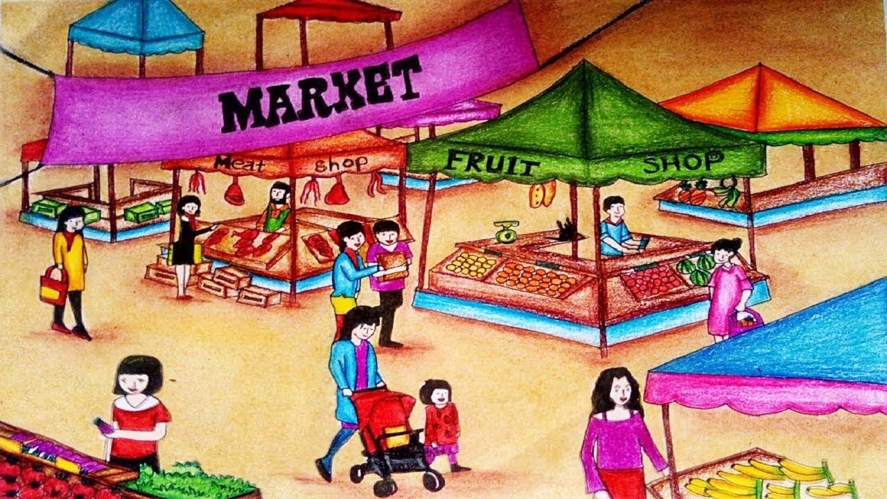 Market scene clipart image library download How To Draw Market Scenery step by step easy    Market Drawing image library download