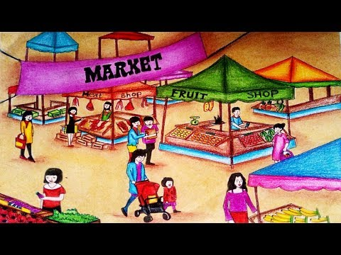 Market scene clipart clip transparent download How To Draw Market Scenery step by step easy    Market ... clip transparent download