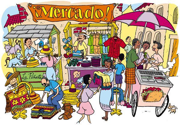 Market scene clipart graphic free city scene drawing - Google Search   ciudad y campo ... graphic free