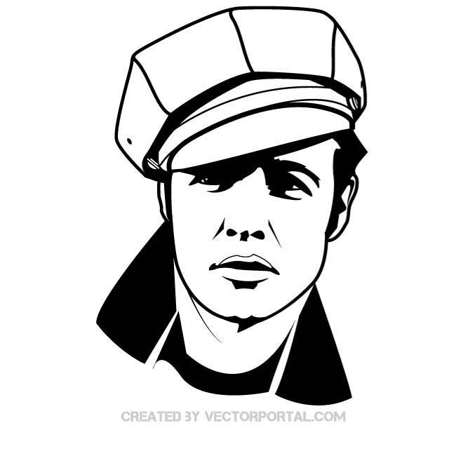 Marlon brando clipart clipart black and white ACTOR MARLON BRANDO PORTAIT - Free vector image in AI and ... clipart black and white