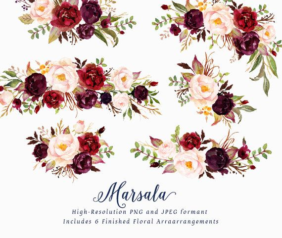 Maroon flower clipart image library Watercolor floral Clip Art-Marsala/Small Set/Individual PNG ... image library
