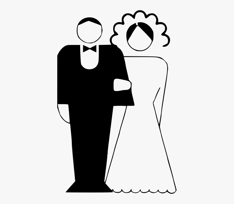 Marraige clipart banner transparent download Couple Married Black And White Bride Groom - Marriage ... banner transparent download