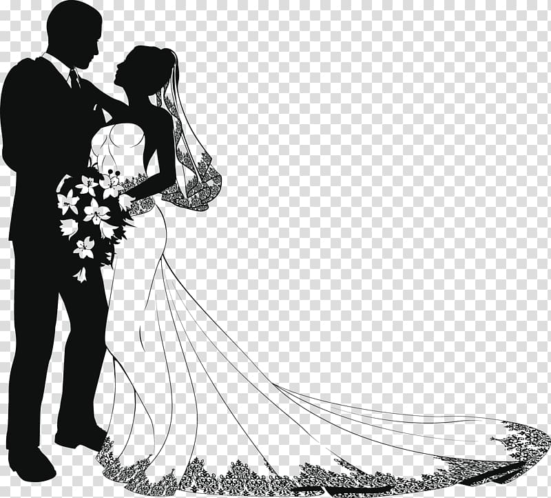 Marriage png clipart hispanic male white female png library library Silhouette of newly wed couples illustration, Wedding ... png library library