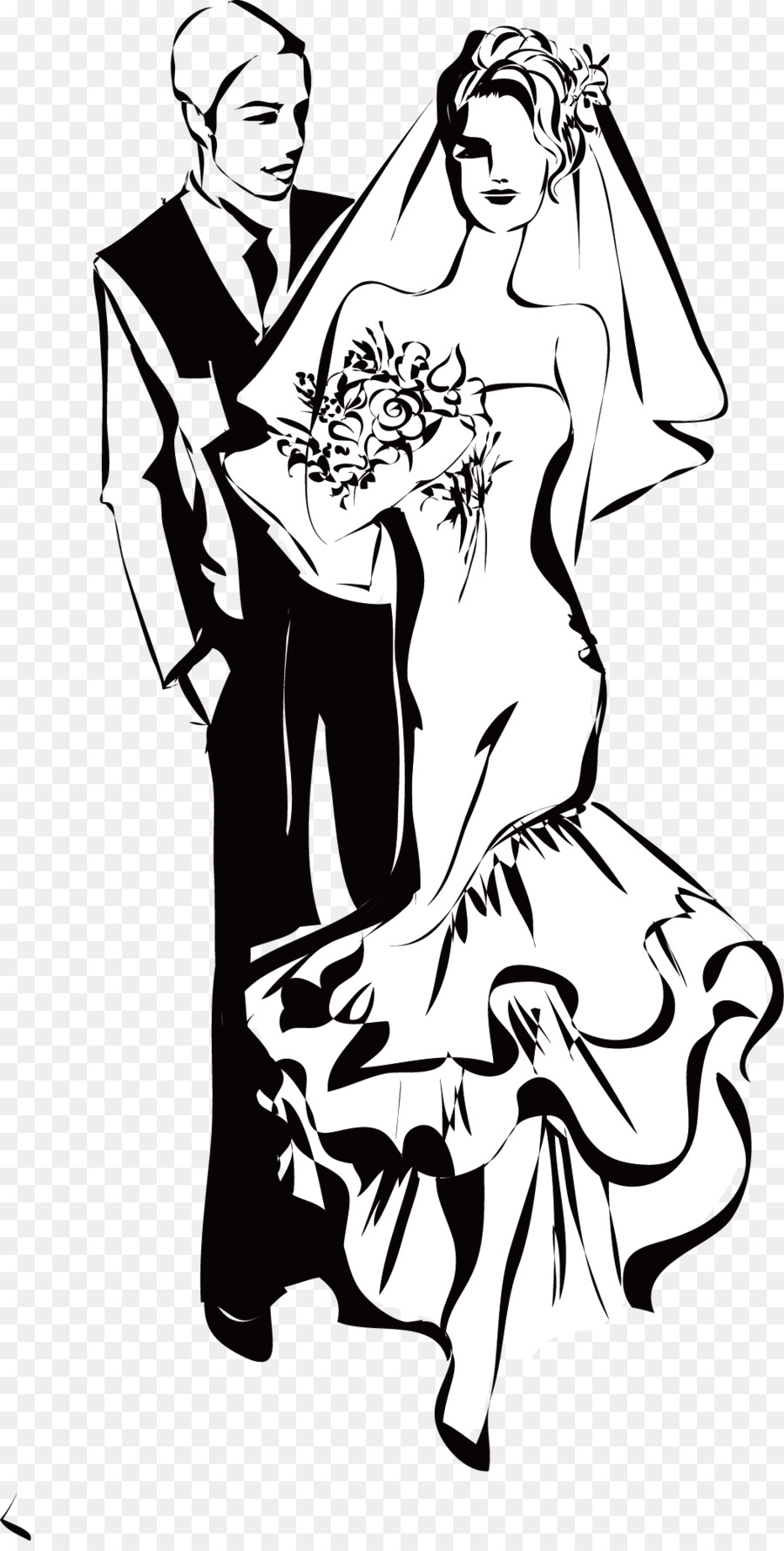 Marriage png clipart hispanic male white female clipart black and white stock Wedding Dress Drawing png download - 1048*2059 - Free ... clipart black and white stock