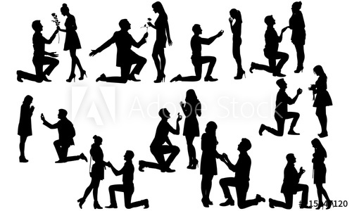 Marriage proposal pictures clipart vector freeuse Couple Engaged Silhouette | Marriage Proposal Vector ... vector freeuse