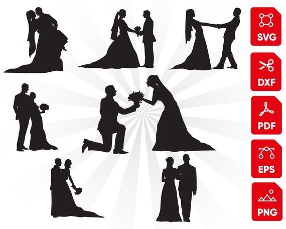Married couple clipart svg clip black and white download Bride Groom Svg, Wedding Svg, Mr and Mrs Svg, cake topper ... clip black and white download