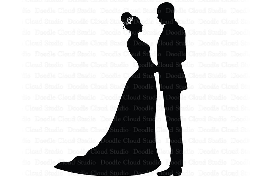 Married couple clipart svg image black and white download Bride and Groom SVG, Black Couple SVG, Wedding Clipart. image black and white download