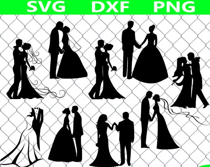 Married couple clipart svg vector freeuse Bride and Groom SVG, Wedding SVG , Just Married SVG, Bride ... vector freeuse