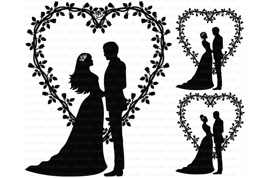 Married couple clipart svg jpg royalty free stock Wedding Heart, Bride and Groom SVG, Wedding Clipart. jpg royalty free stock