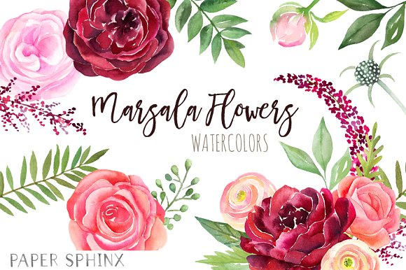 Marsala flower clipart graphic transparent stock Watercolor Marsala Flowers Clipart graphic transparent stock