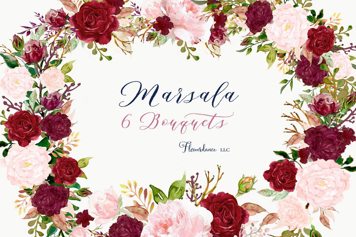 Marsala flower clipart image library download Watercolor Clipart Floral Bouquets Pink and Marsala image library download