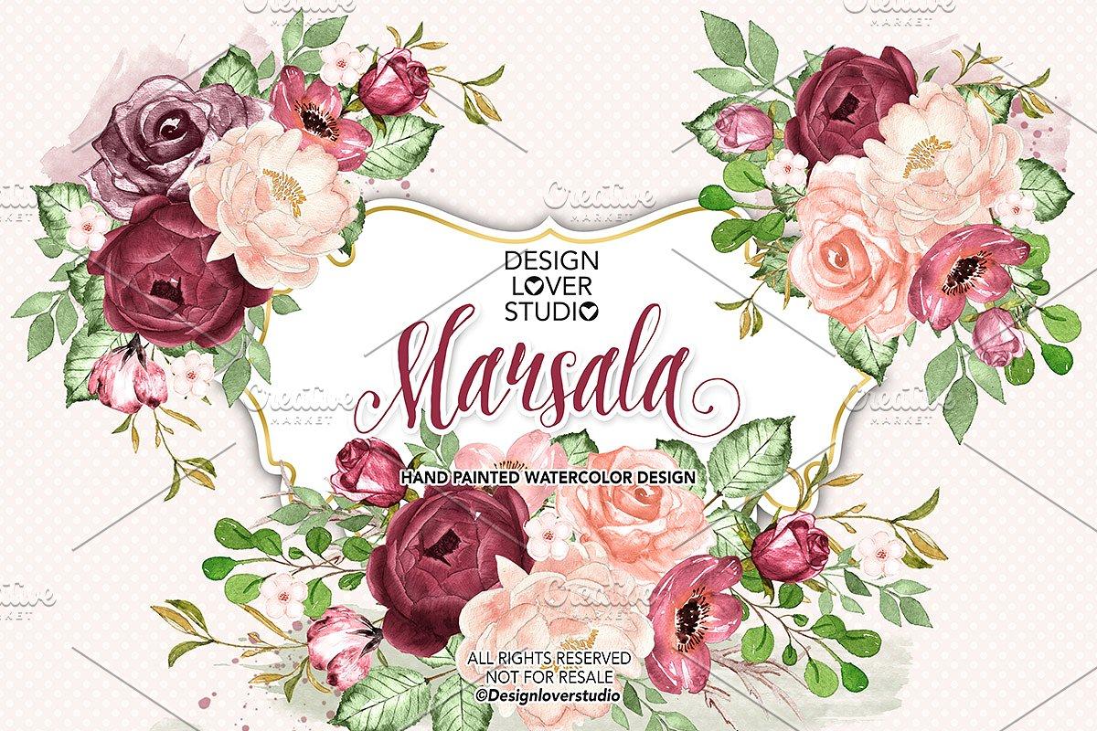 Marsala flower clipart vector transparent stock Watercolor Marsala design vector transparent stock