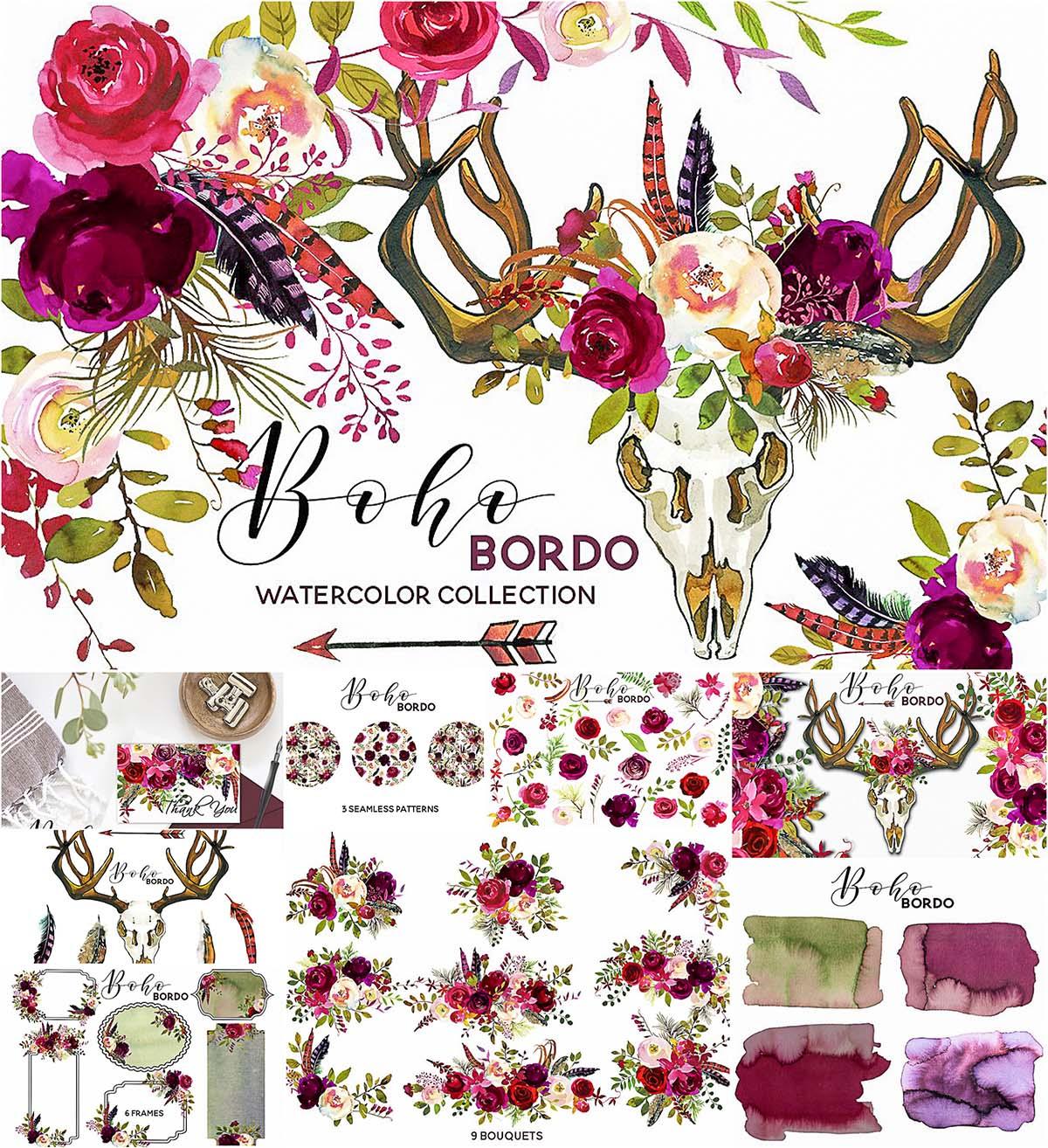 Marsala flower clipart clipart free stock Boho marsala watercolor flowers   Free download clipart free stock