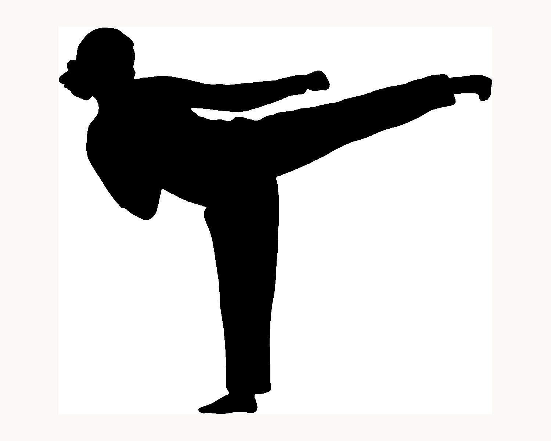 Martial arts stick silhouette clipart black and white