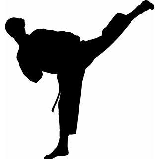 Ninja silhouette fighting clipart black and white