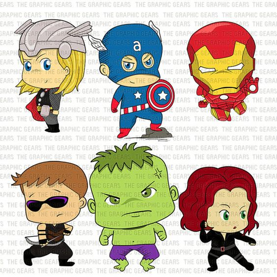 Marvel avengers clipart jpg free stock Baby Avengers Clip Art Set Avengers Heroes Clipart - Little Young ... jpg free stock