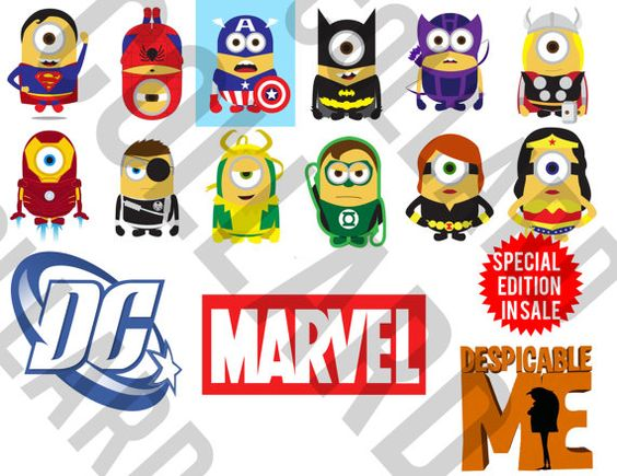 Marvel clipart png library Minion Marvel Superheroes Cute Clipart Avengers / by CollardDesign ... png library