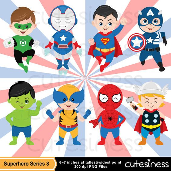 Marvel super heroes clipart banner library Superhero Digital Clipart Superhero Clipart by Cutesiness on Etsy ... banner library