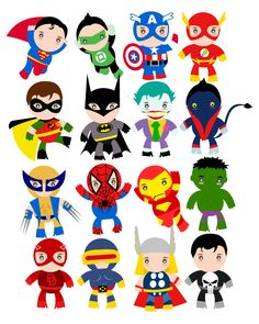 Marvel super heroes clipart black and white Boy Superhero Clip Art / Little Boys Superheroes / Superboys ... black and white